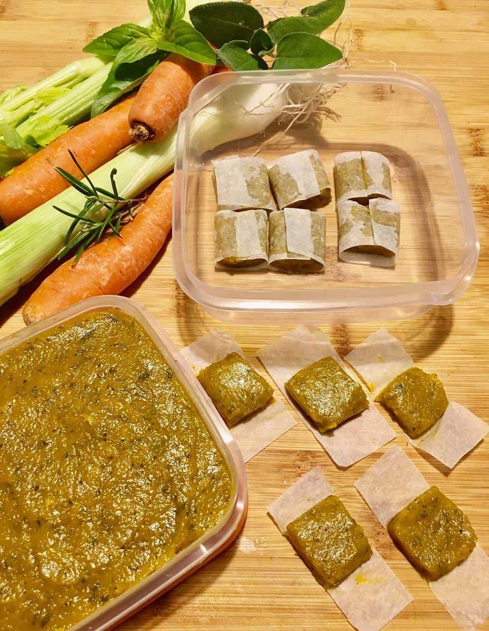 Dado vegetale fatto in casa da congelare